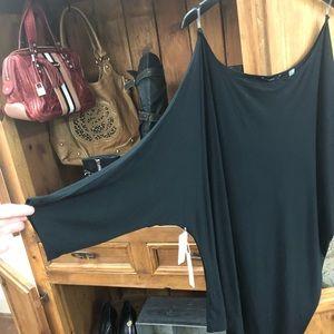 NWT TART Plus Size Long Black Asymmetrical Tunic